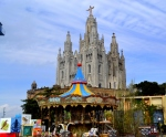 Overal view of Mount Tibidabo , Barcelona