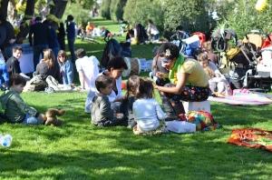 Family picnic in Barcelona