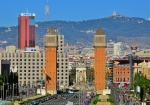 Buildings on the Square of Spain in Barcelona downtown on December 29, 2012. Barcelona is the second largest city of Spain.