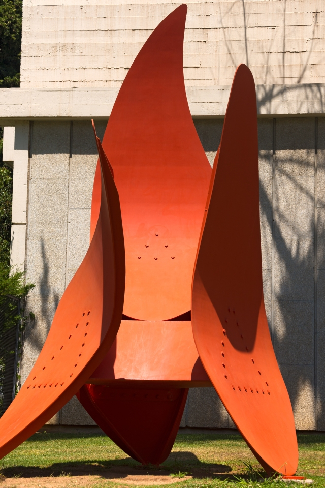 Sculpture in painted iron - Quatre Ales, 1972 (Four Wings) by Alexander Calder (1898-1976), outside the Fundacio Joan Miro, museum of modern art