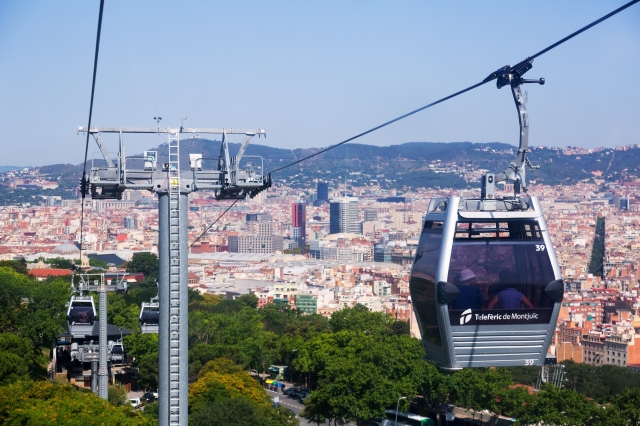 Teleferic de Montjuic connects Montjuic Castle and Montjuic funicular station