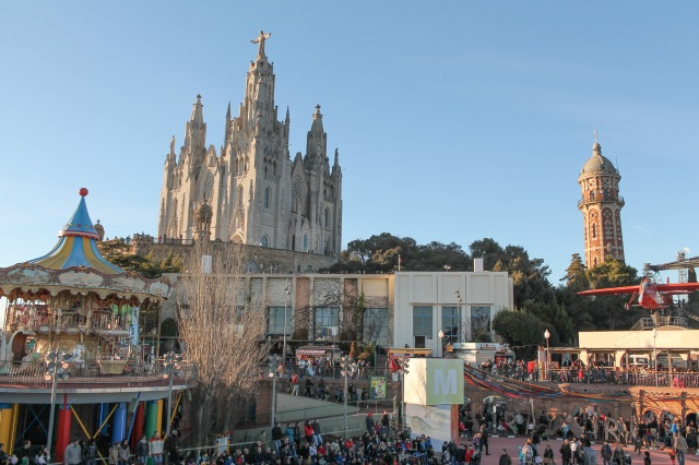 Tourists visiting Sagrat Cor church on Mount Tibidabo.